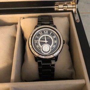 Black and silver Michael Kors watch